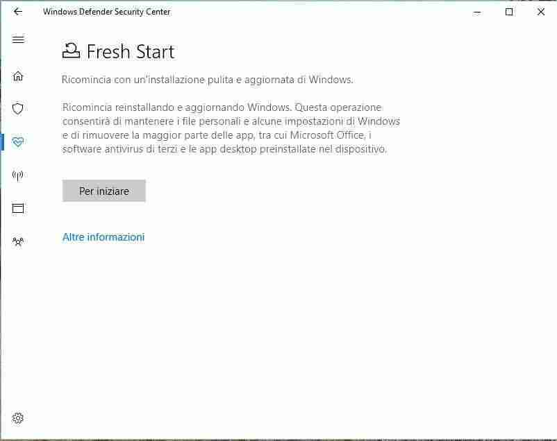 You are currently viewing Fresh Start windows 10 come formattare veramente in modo pulito