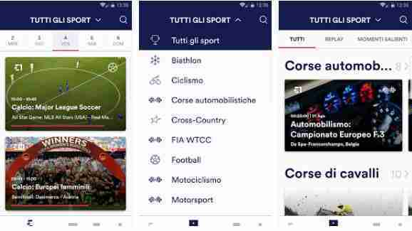 Eurosport Player app Android e iOS