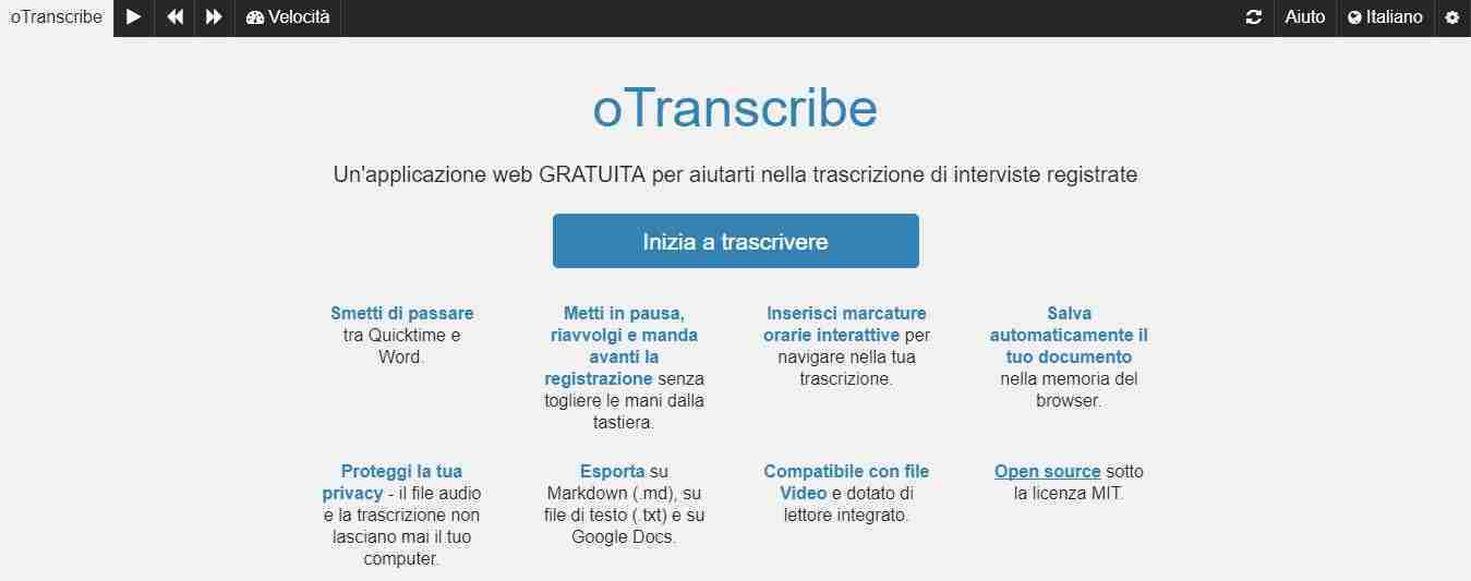 Come trascrivere l'audio in testo gratuitamente oTranscribe