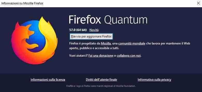 informazioni su firefox
