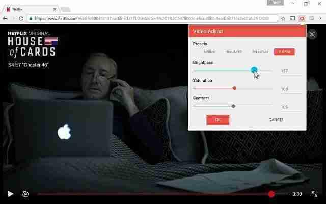 Regolare video Netflix su Chrome Luminosità, Saturazione, Contrasto