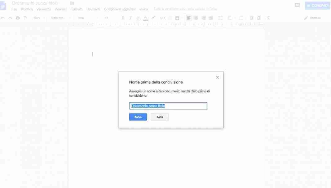 Come condividere un documento di Google
