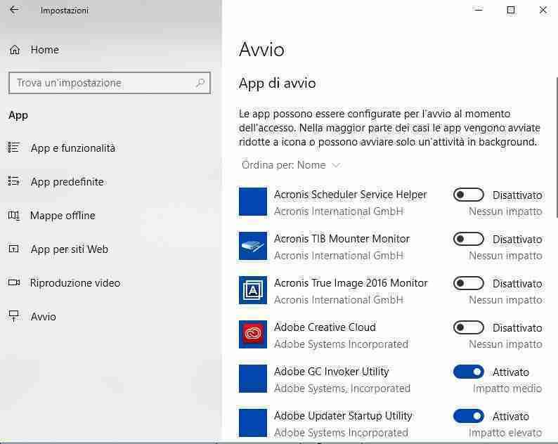 Come gestire i programmi all' avvio nell'app Impostazioni di Windows 10