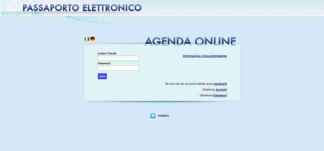 accesso passaporto online