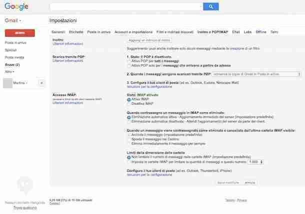 Attivazione SMTP.gmail IMAP.gmail e POP3.gmail