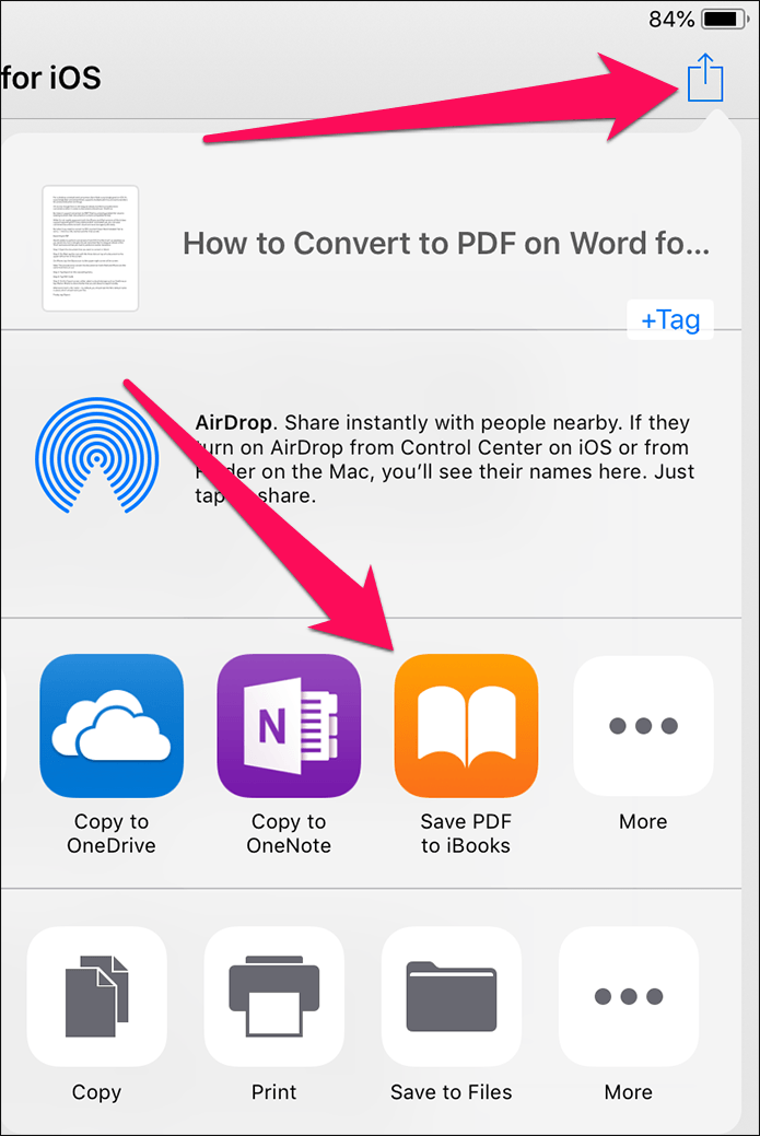 Come salvare un fileDOCXin PDF da iPhone o iPad senza app Word