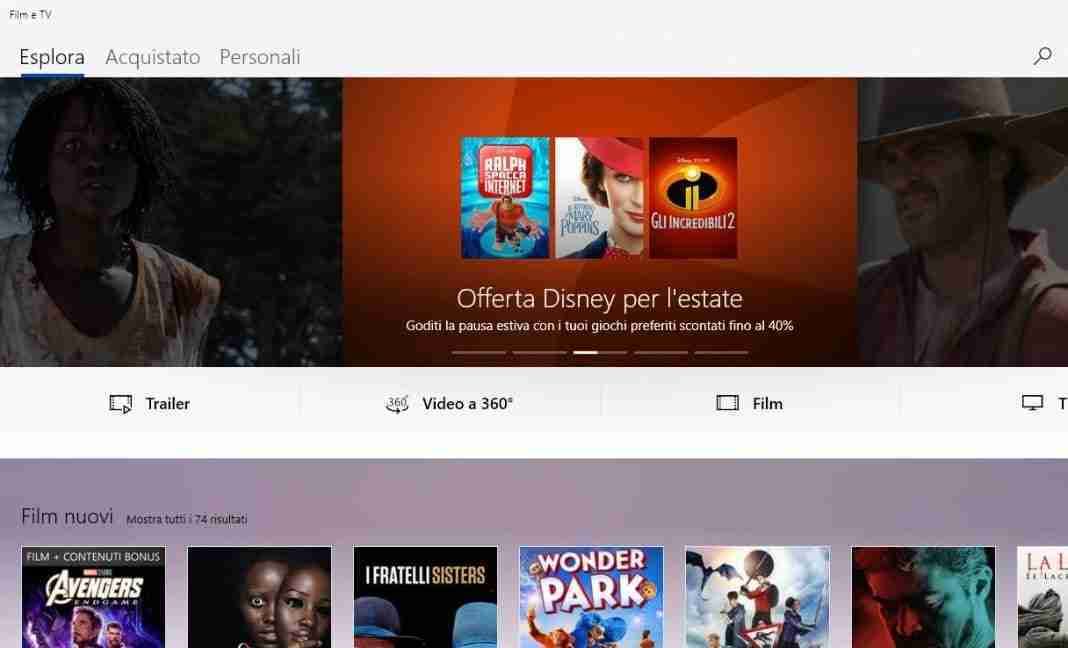 Guardare film senza limiti su Windows 10
