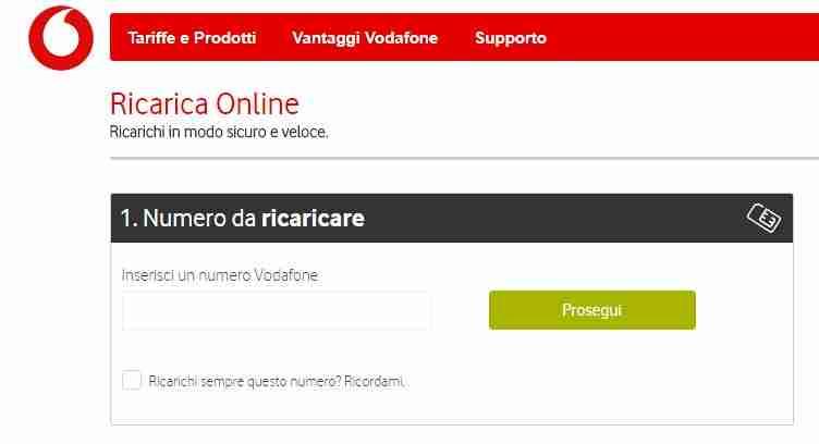 Ricaricare numero Vodafone tramite sito web Vodafone.it