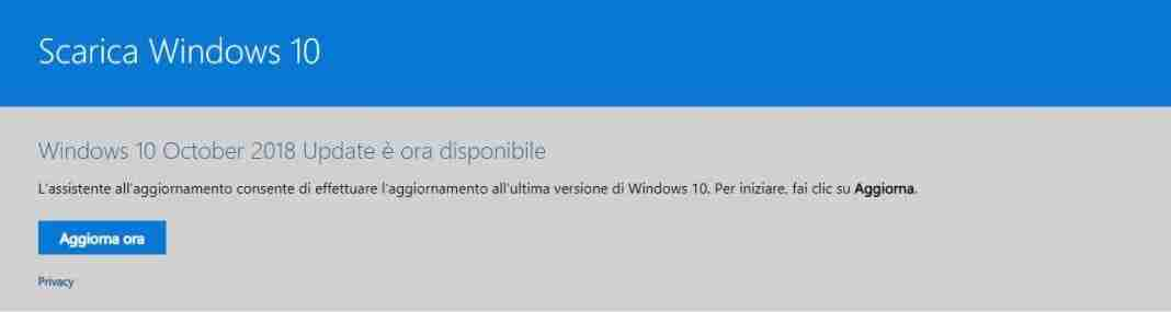 assistente di aggiornamento di Windows 10