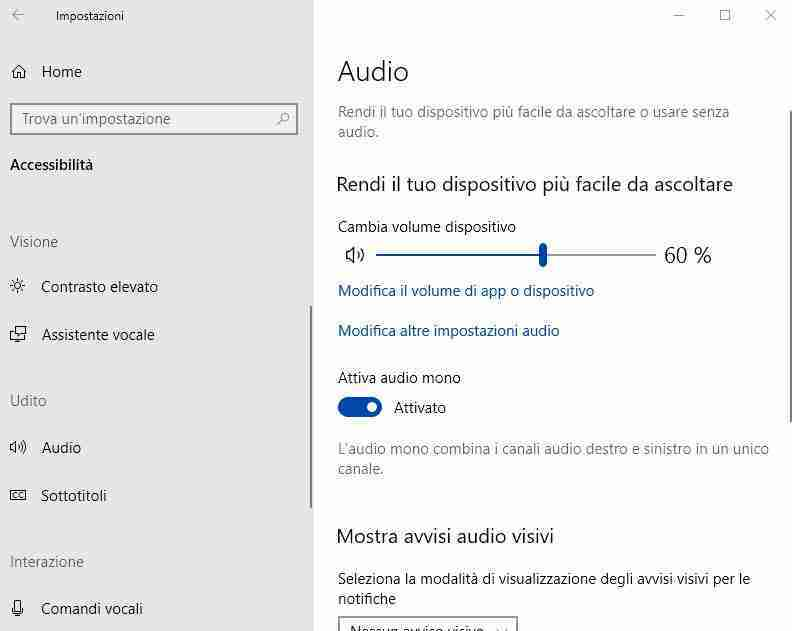 audio mono windows