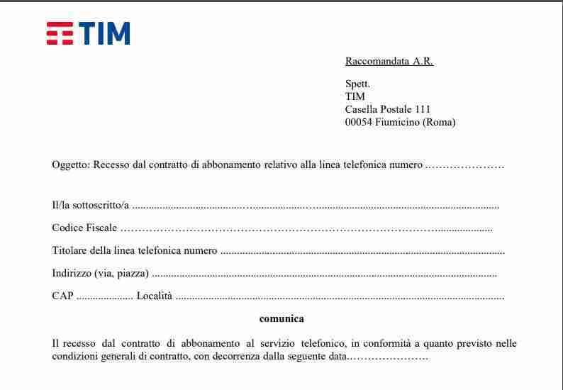 Come disdire contratto Telecom TIM per cessazione linea