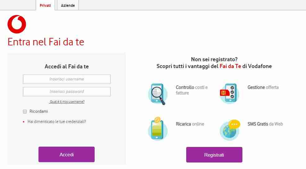 Vodafone come sapere il credito residuo via web