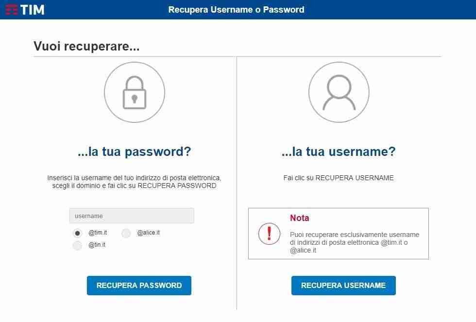 Recupera password alice mail