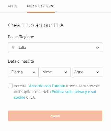 account EA gratuito