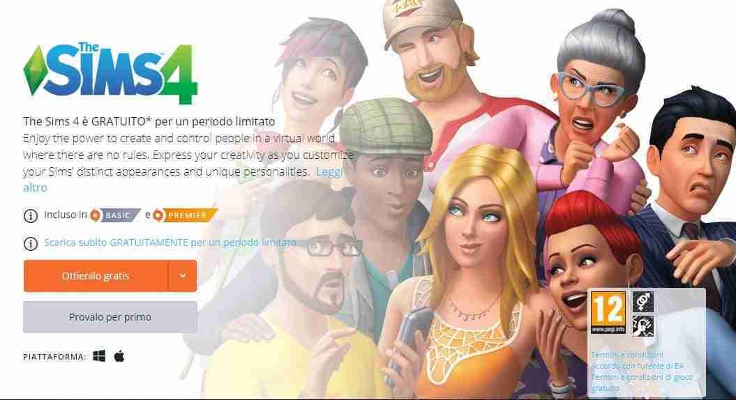 scaricare e giocare a The Sims 4 gratis