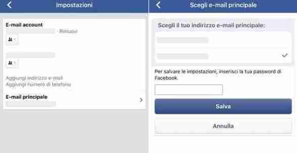 Come si fa a cambiare l'email di Facebook da cellulare