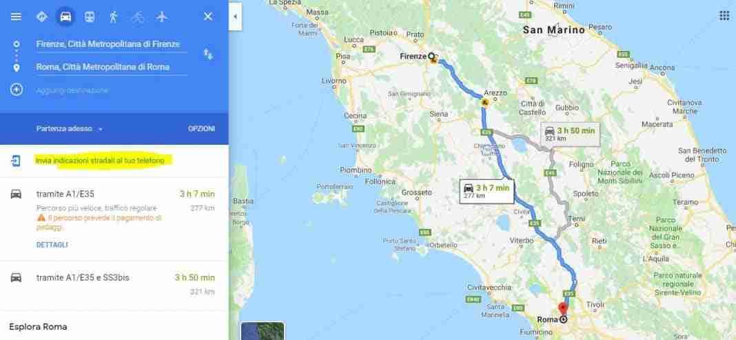 Inviare le indicazioni stradali cercate da  Google Maps sul Web allo smartphone