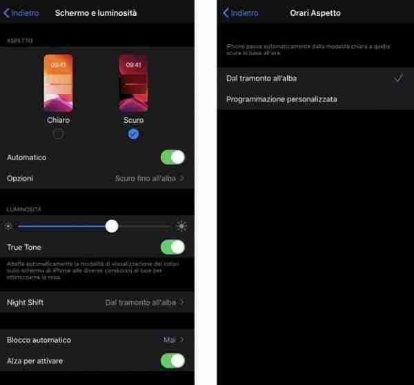 Abilitare la modalità scura in iOS 13