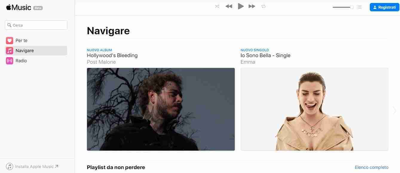 Apple Music sul Web