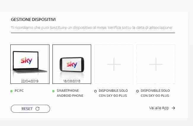 Come eliminare un dispositivo associato a Sky Go