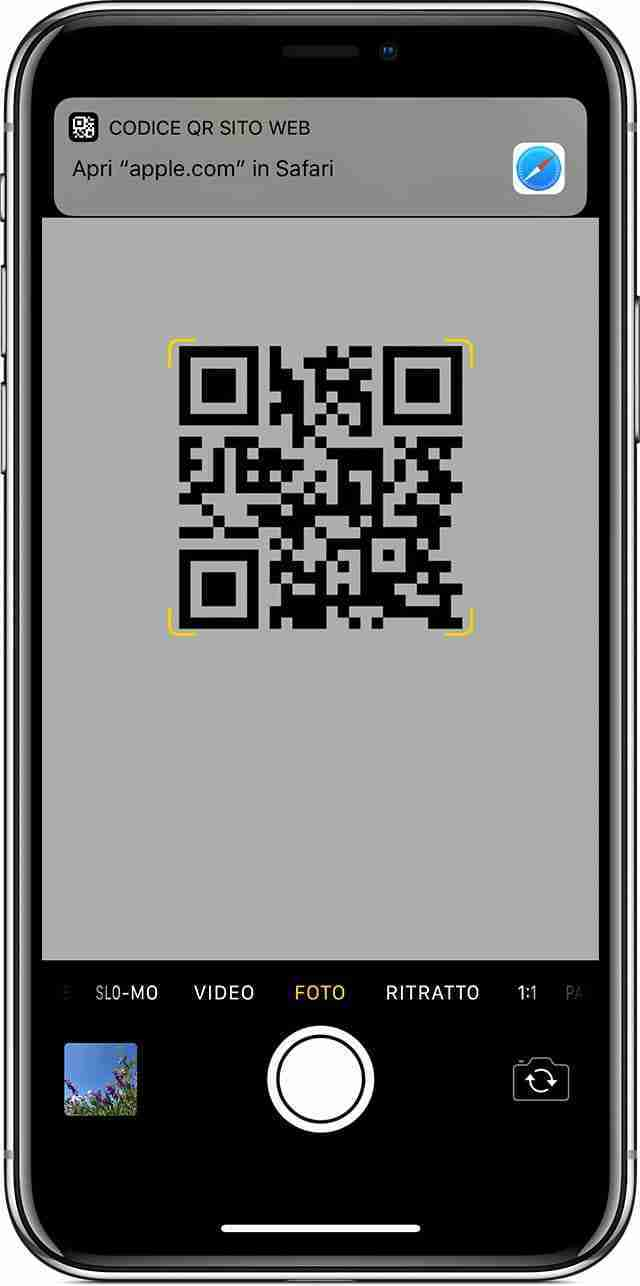Scansionare codice QR con iPhone