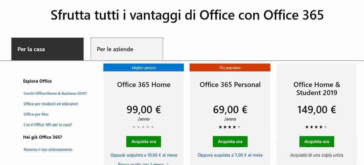 Costi Office 365