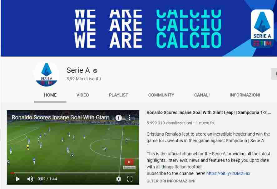 Come vedere Highlights serie A su Youtube