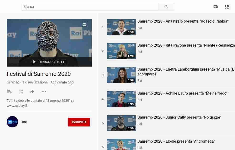 Video canzoni festival di Sanremo 2020 Youtube