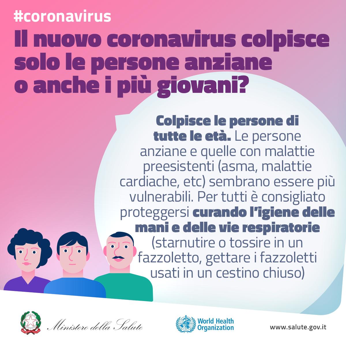 Il nuovo coronavirus colpisce solo le persone più anziane o anche i più giovani