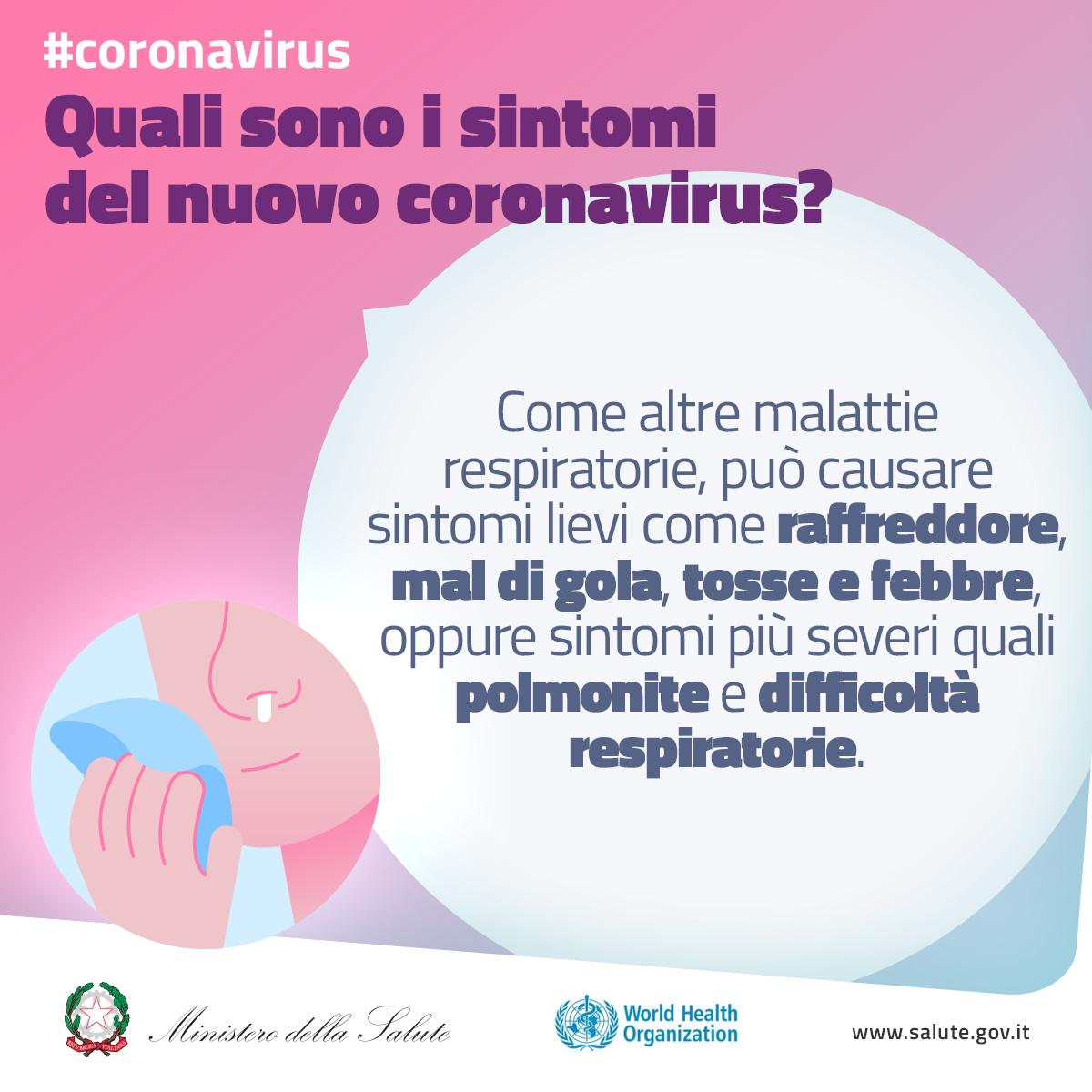 Quali sono i sintomi del nuovo coronavirus