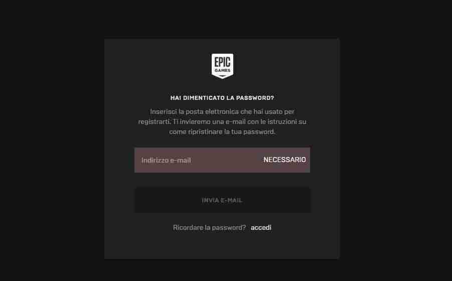 Recuperare la password di Fortnite
