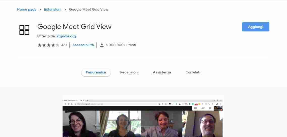 Google Meet Grid View dal Chrome Store