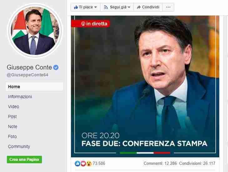 Pagine ufficiale del Presidente Giuseppe Conte su Facebook