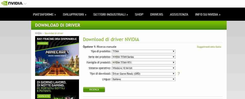 Scaricare driver NVIDIA da sito web