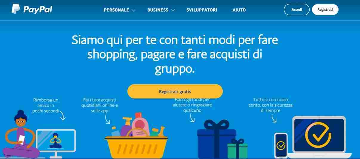 Creazione dell'account PayPal personale e business
